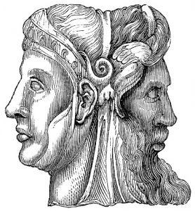Antiguo dios romano Jano (Ianvs) de las obras de William Shakespeare. Aguafuerte de mediados del siglo XIX.